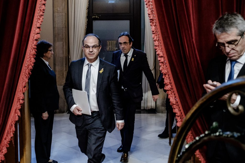 Catalan ministers Jordi Turull and Josep Rull at the Parliament of Catalonia. Credits: Adrià Costa.